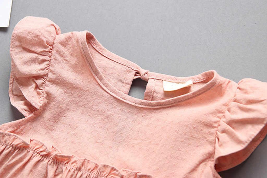 女の子夏ドレス幼児の子供の女フリル固体リネンエレガントなプリンセスパーティードレス服チェック柄のコットンドレスホット #06