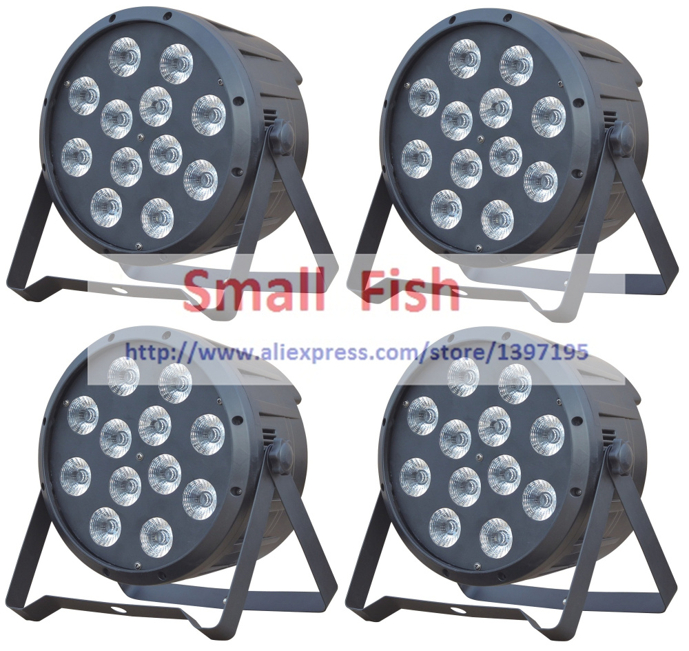 2016 Flat Led Par Light 12x12W RGBW DMX Stage Lighting Business Lights High Power Par Can Professional for Party KTV Disco DJ