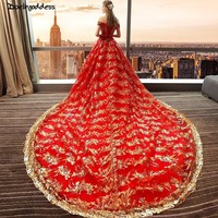 Luxury Sexy Red Wedding Dress 2018 Ball Gown Wedding Dress Gold Lace Sequins Short Sleeve Off Shoulder Wedding Dress Long Train
