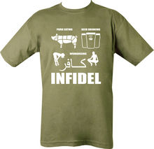 INFIDEL T SHIRT BEER DRINKING PORK WOMEN SEX BRITISH ARMY ENGLISH MUSLIM DEFENCE 2018 Newest Fashion