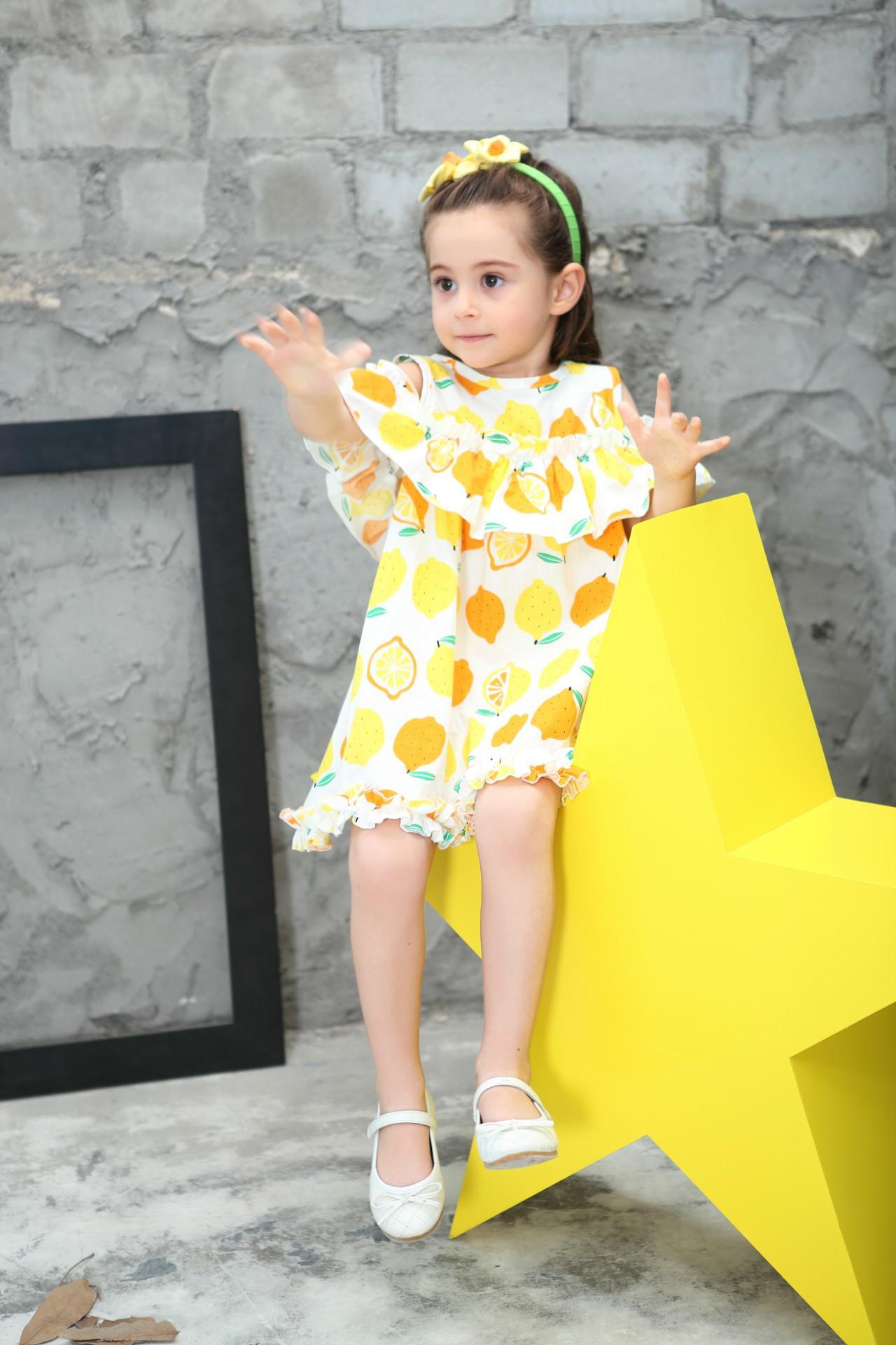 Lemon Printd Girls Dress 2018 New Summer Fashion Children Princess Dress Kids Children Clothes For 2 3 4 5 6 7 8 Years 7