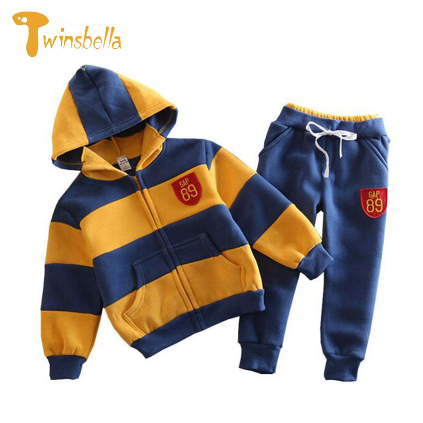 TWINSBELLA Boys Clothing Set 2017 Autumn Children Long Sleeve Striped Hooded Jacket+Pants 2PCS Winter Kids Sports Clothes Set boys camouflage sports suits 2017 new autumn cotton boys long sleeve sportswear 2 pcs set children clothing 3 5 7 9 11 14 y 6