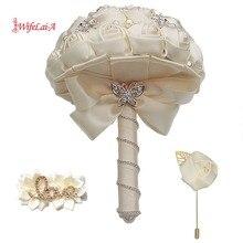 (Kwiat na nadgarstek i boutonniere) Ivory perły satynowy bukiet kremowy perła zroszony gospodarstwa kwiaty jedwabny bukiet ślubny zestaw ślubny