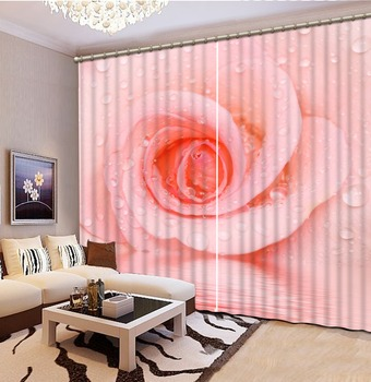 Pink rose 3d window curtains Curtains for living room  Home Decoration Factory diret sale