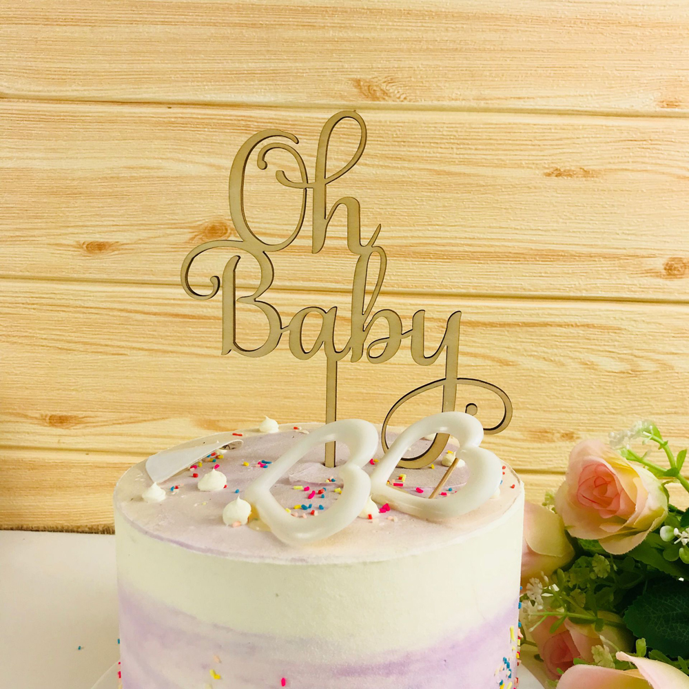 Oh Baby Cake Topper ,  Wooden  Acrylic Cake Topper Commemorative topper ,for Baby Shower Cake Decoration Supplies-in Cake Decorating Supplies from Home & Garden