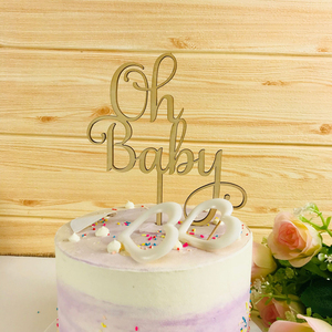 Image 1 - Oh Baby Cake Topper ,  Wooden  Acrylic Cake Topper Commemorative topper ,for Baby Shower Cake Decoration Supplies