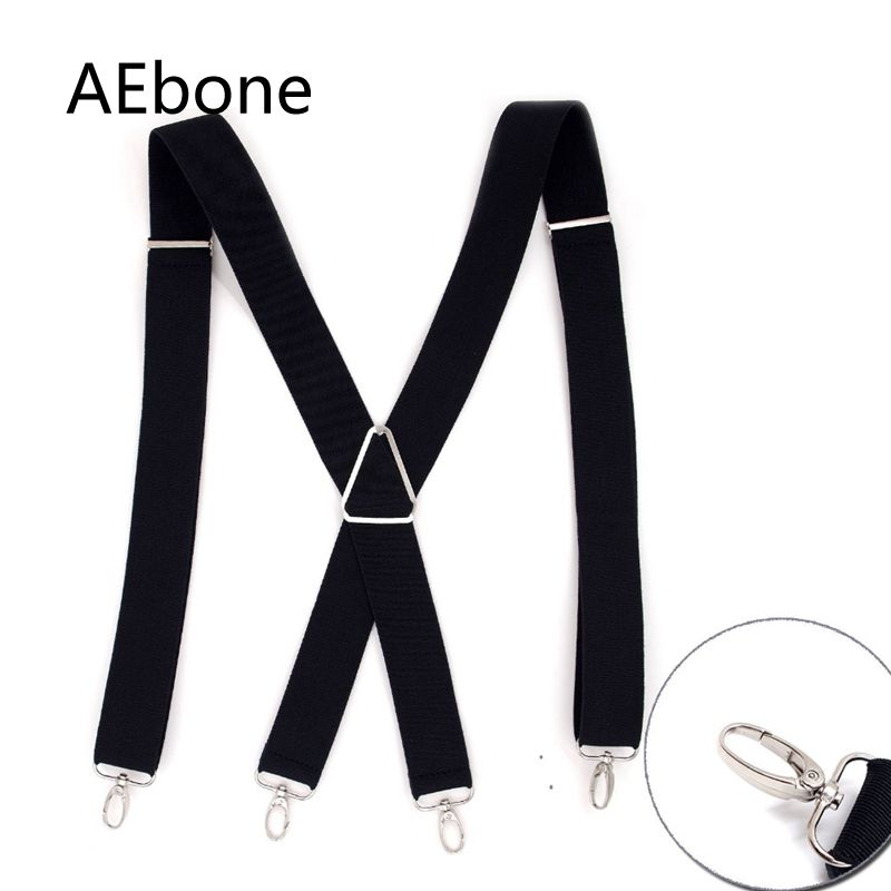 AEbone Black Suspender For Men X Back Pants Brace For Adult 3.5CM Wide Strap Bretels Suspensorio Masculino Sus17