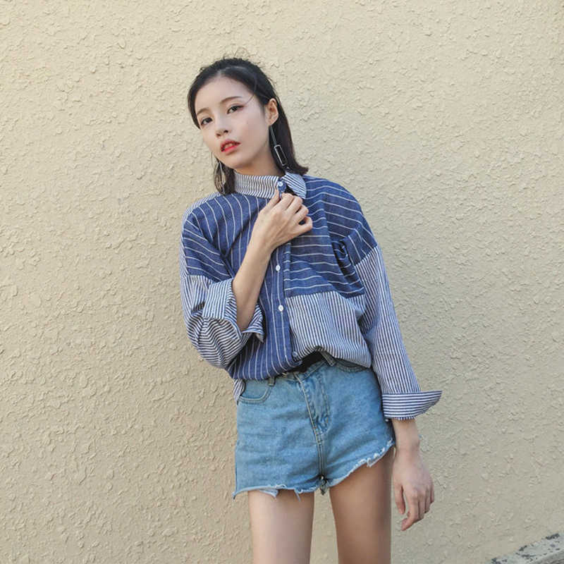 Korea Musim Panas wanita Longgar Warna Hit Teratur Bergaris Blus Kemeja lengan Panjang wanita Korea Harajuku Musim Gugur Femela Blouse