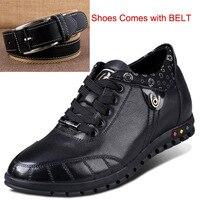 Мужские черные кожаные кроссовки Повседневные Удобные увеличивающий рост с внутренним каблуком и толстой стелькой спортивная обувь с пояс