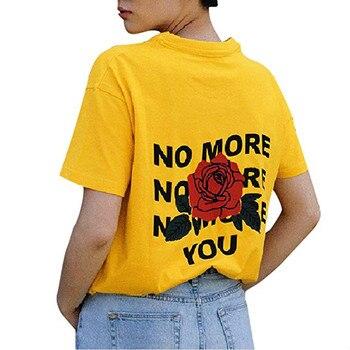Kuakuayu Hjn Yaz Tumblr Grunge Siyah Sarı Tee Hiçbir Daha Size Gül
