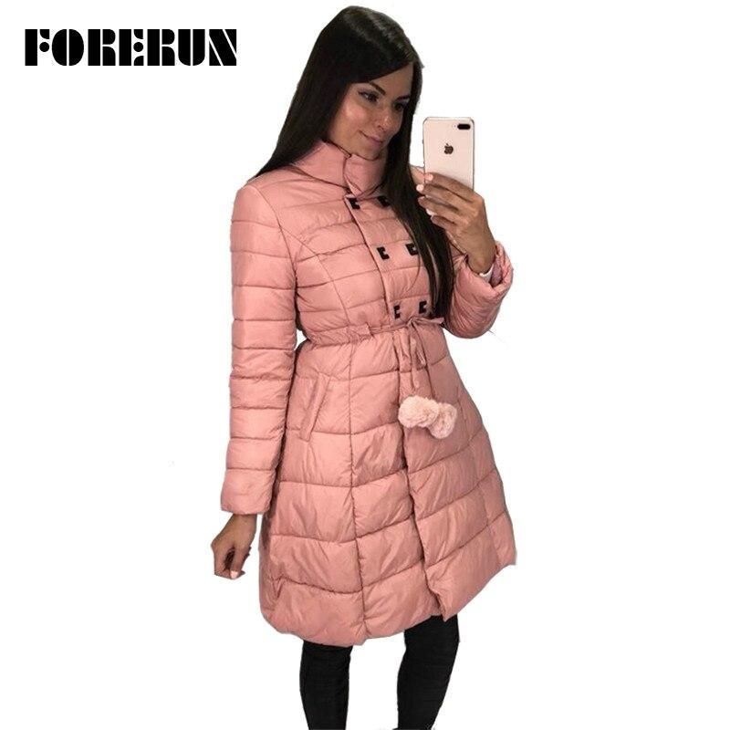 FORERUN Long Jacket Women Parka 2018 Skirt Jacket Slim Waist Pompom Slashes Winter Cotton Padded Coat