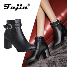 Fujin New Arrival Fashion Winter Boots Ankle  Cylinder With High Heel Shoes Snow Big Size 35-42 Hot Sale