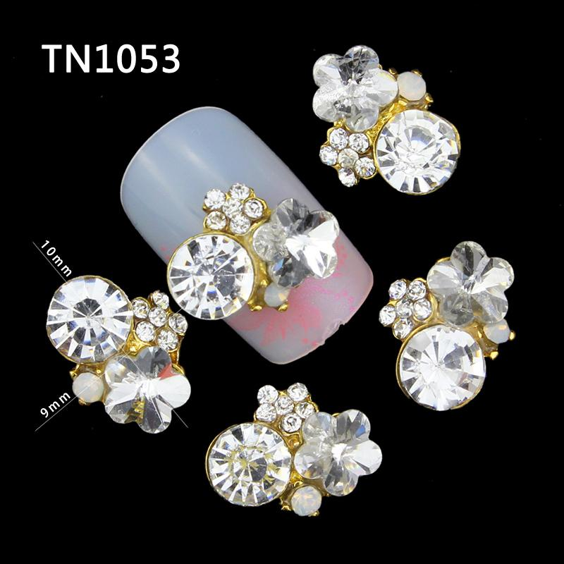 10Pcs/Pack Crystal Clear Rhinestone DIY 3D Nail Art Decorations For 2515 New Glitters Gold Alloy Nail Tools TN1053 e cap aluminum 16v 22 2200uf electrolytic capacitors pack for diy project white 9 x 10 pcs