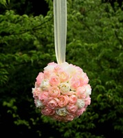 1 Pc 5 Inches Kissing Ball Pomander Pink Ivory Flower For Home Wedding Pew Ribbon Bows