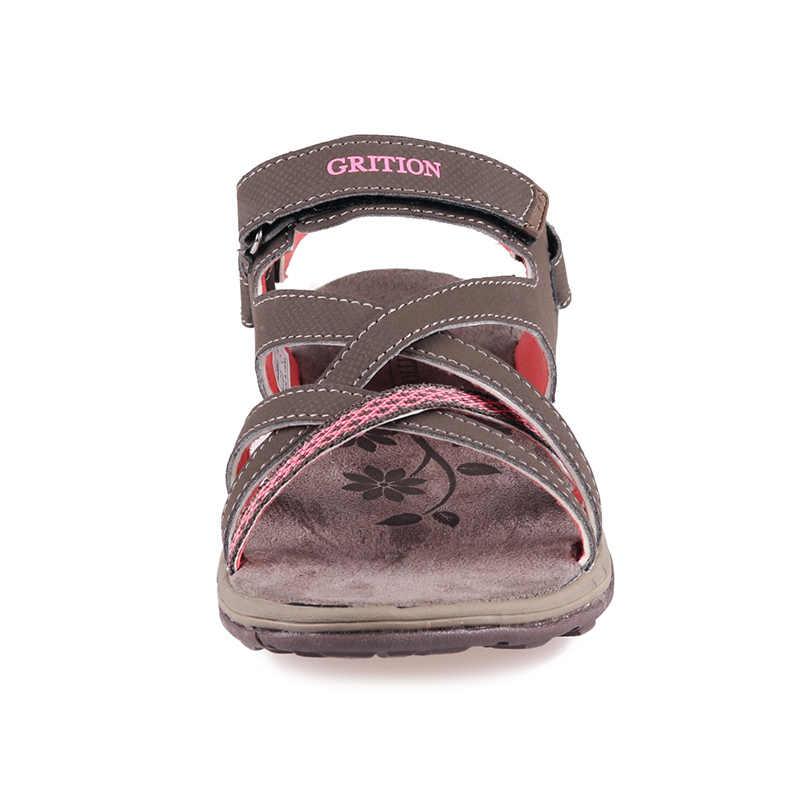 GRITION sandalias de mujer zapatos planos suaves de verano para la playa al aire libre para caminar cómodos zapatos casuales de Punta abierta 2019 zapatos transpirables
