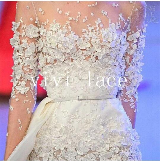 HXX014 offwhite dobby đáng yêu hoa đính sợi sữa thêu mềm tulle lưới haute couture cho đám cưới/buổi tối ăn mặc
