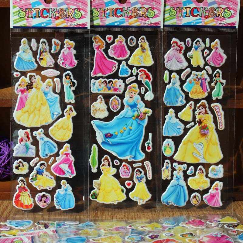10pcs/lot 3D Cartoon Stickers puffy waterproof Princess Belle Snow white stickers Classic toys gift for girls