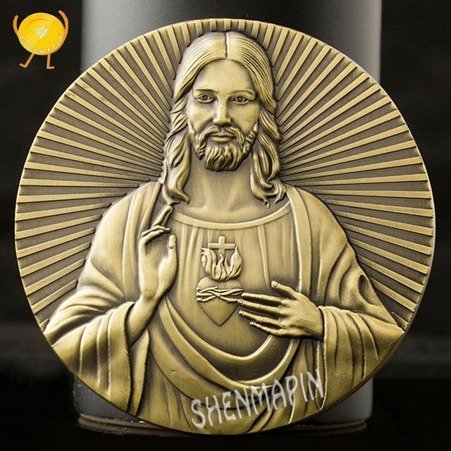 Jesús Satán La Última Cena conmemorativa monedas de artista de la Biblia coleccionables cultura arte decoración del hogar 80mm