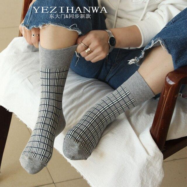 Japanese style plaid socks fashion casual Harajuku compression women sock autumn winter neutral wind street trend cotton calzini 2