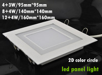 2 color LED panel light blue, green and white warm white finished square type 7W 12W 16W downlights free shipping