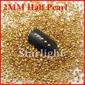 Decorações Nail art meio pérola 2 MM 1000 unidades/pacote DK ouro cor Rhinestonesfor de prego