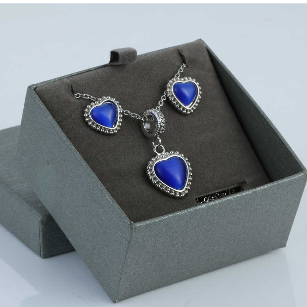 blue Heart Wedding Bridal Jewelry Sets Silver Color Wedding Jewelry Necklace Sets for Women  ps0001