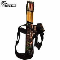 1pc Camo Archery Bow Arrow Quiver Hunter Arrow Holder with 3 Tubes Shooting Arrow Bags Shoulder Belt Strap Case
