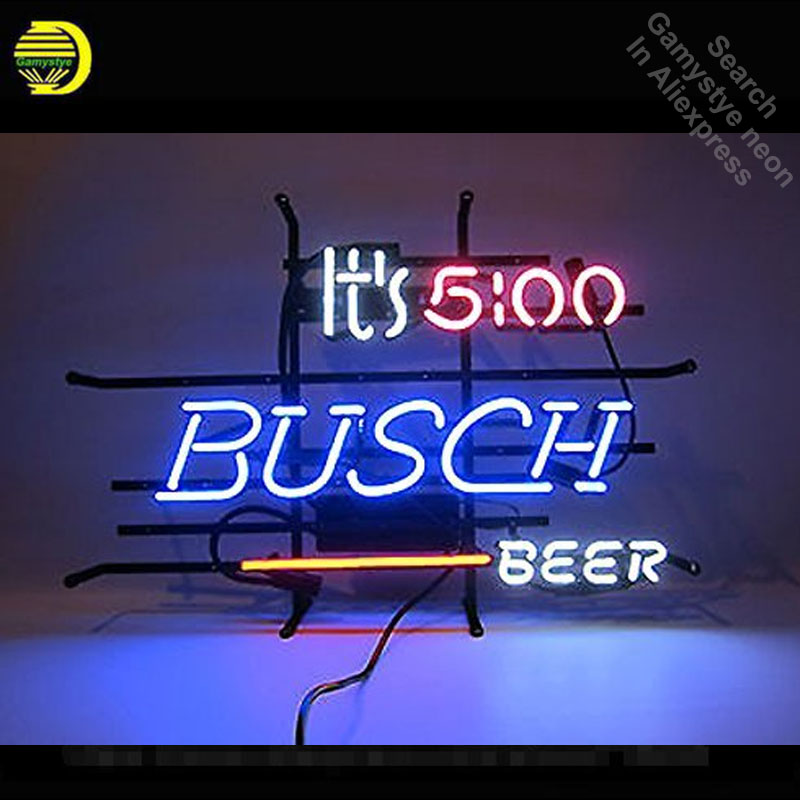 Neon Sign for It's 5 O'C lock Somewhere Busch Beer Neon Tube sign handcraft  signs Decorate Beer Bar pub room Art Lamps