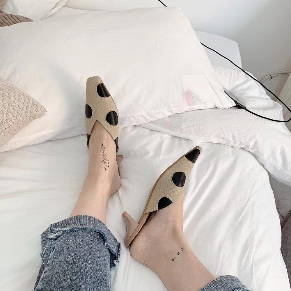 2019 summer new women's Muller shoes party shoes polka dot slides Middle and square head sandals and slippers