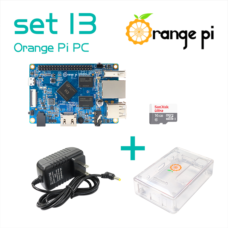 Prix pour Orange pi pc set13: orange pi pc + transparent abs cas + alimentation + 16 gb classe 10 carte micro sd au-delà raspberry pi