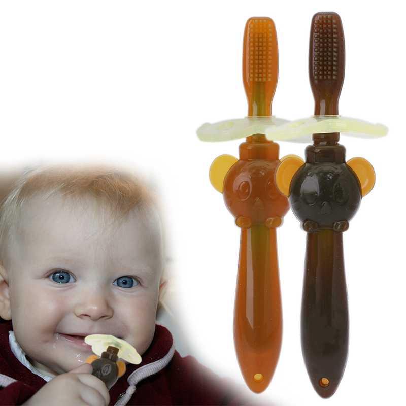 Dla dzieci niemowląt miękkie bezpieczne silikonowe gryzak do żucia zginalny szczoteczka do zębów