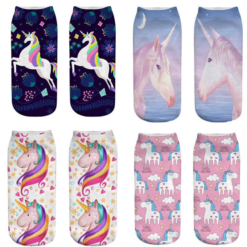 New Colorful Unicorn Licorne soft Cotton Socks Women Spring Summer Funny Socks Sweet 3D Prints Socks for Pregnant Maternity 3d print unicorn socks girls kawaii ankle licorne chaussette femme calcetines mujer cute emoji art happy kids long cotton socks