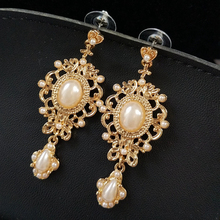 Vintage Pearl Baroque Earring European Elegant Exaggerated Drop Women Fancy Work Jewelry