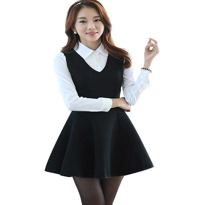 ✓2017 New Spring Women Office Lady Dresses Plus Size two-piece V ...