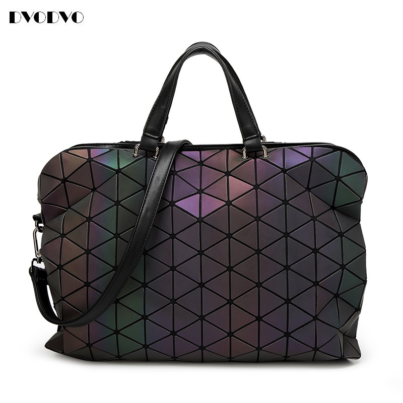 2017 folding Luminous Women Bao Bao Bag High-end Geometric Handbags Plaid Shoulder Diamond Lattice BaoBao Ladies Messenger Bags rainbow magic rubik s cube tote diamond geometric bao bao high capacity handbag bags women colorful plaid mosaic shoulder bag