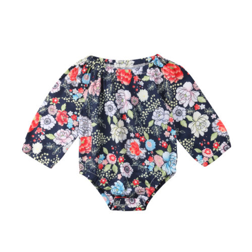 Baby Girls Bodysuit Long Sleeve Casual Cute Sunsuit Jumpsuit Outfiit Clothes Newborn Infant Girl Baby Clothing Floral 0-24M