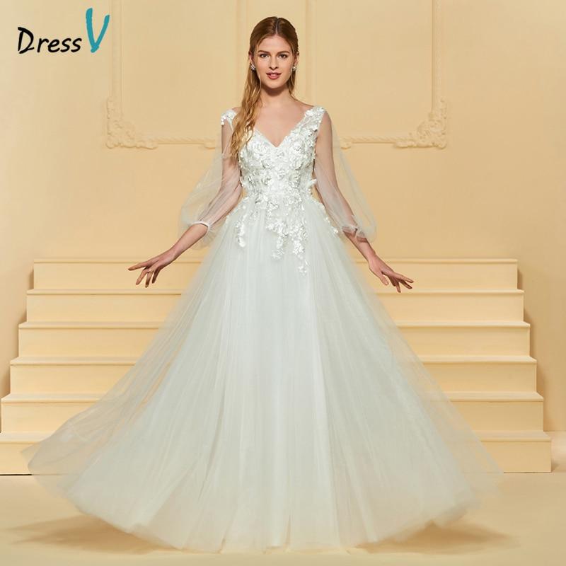 Dressv Ivory vestido de novia largo con cuello en v de tres cuartos - Vestidos de novia