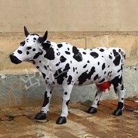Огромный творческий Моделирование игрушка корова полиэтилена и меха новые крупного рогатого скота куклы подарок 100x65 см 1895