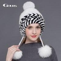 Gours Natuurlijke Nertsen Bont Hoeden voor Vrouwen Winter Dikke Warm Wit Caps Mode Pijl Gebreide Pom pom Mutsen met 3 Vossenbont ballen