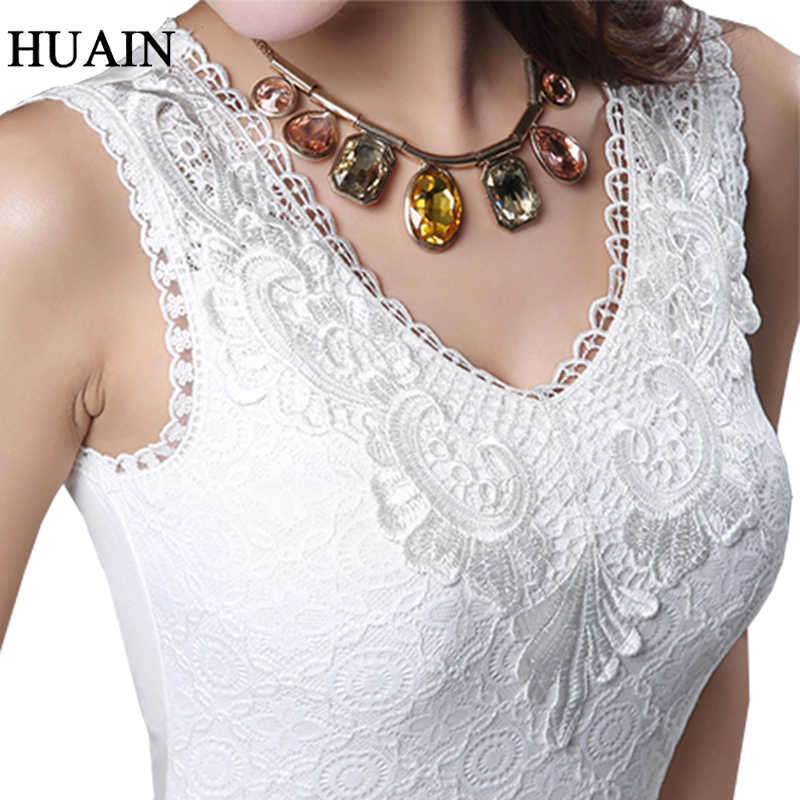 Lace Sleeveless Shirt Women Tank Top Summer 2018 Sale Crochet Tops Ladies Sexy Camisole 2018 Elastic V Neck Female Blouse Shirt