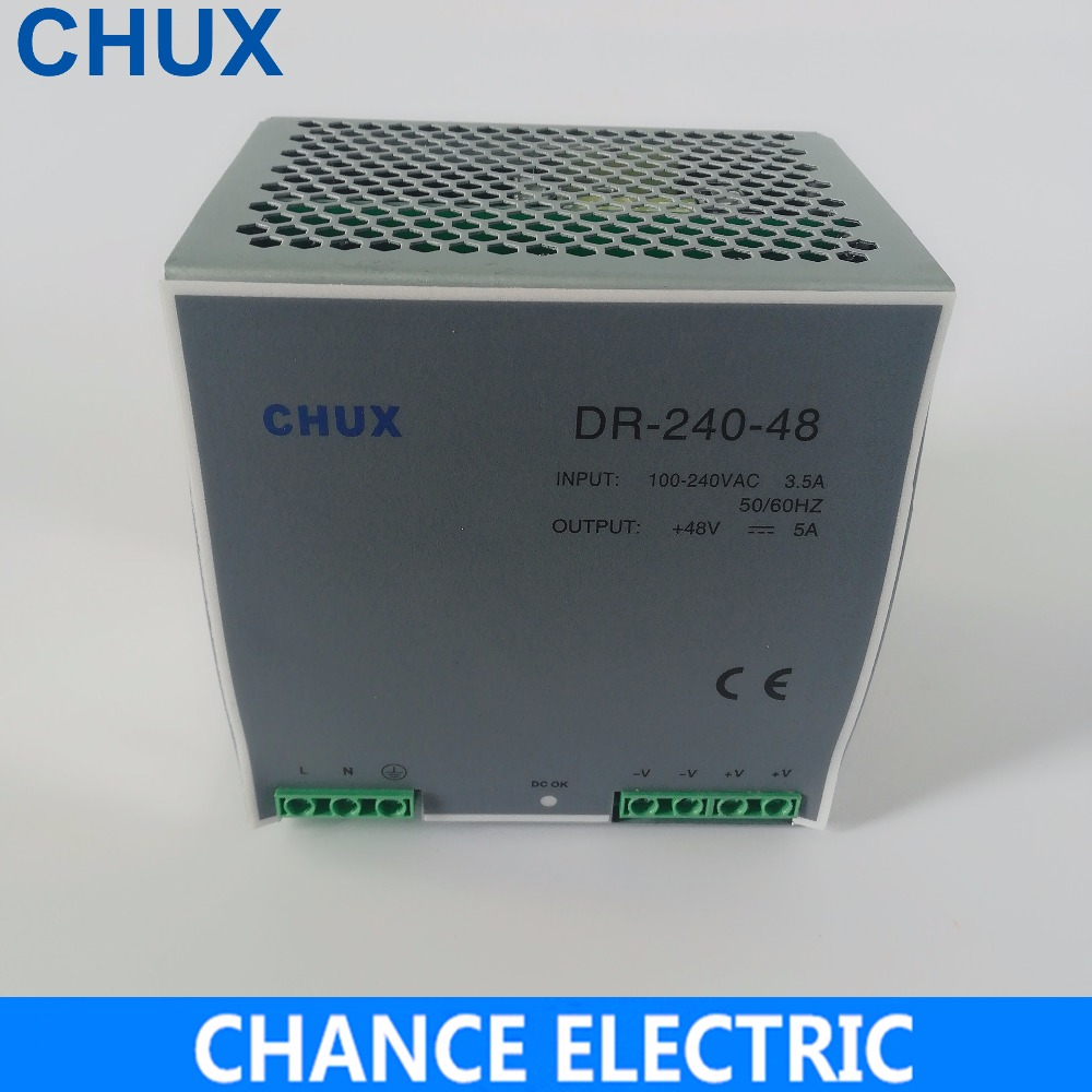 Din Dail Switching Power Supply 48V 5A AC To Dc SMPS DR-240-48 Din Rail Power Supply 240W 48V 5A For Cnc Led Light s 250 48 5a 48v 240w switching power supply 48v led power supply factory direct sales ac to dc transformer
