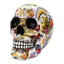 Halloween Skull Decor Resin Novelty Printing Horror Comedy Water Transfer Skull Head Shape Decor Ornament Toy Prop(China)