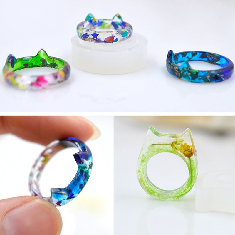 One Pack Silicone Rabbit Rings Mold Set Pendant UV Resin Casting Jewelry Making 2019 Gifts