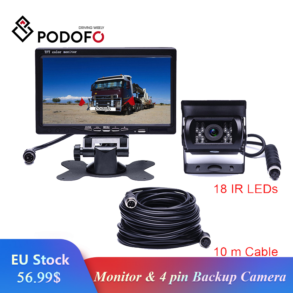 "Podofo DC 12V 24V 7""TFT LCD Car Monitor Display + 4 Pin IR Night Vision Rear View Camera for Bus Truck RV Caravan Trailers