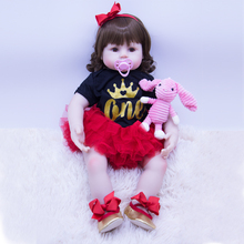 цена 60CM large cotton body silicone reborn baby doll newborn girl  and Stylish red birthday princess dress bebes babies toy kids gif онлайн в 2017 году