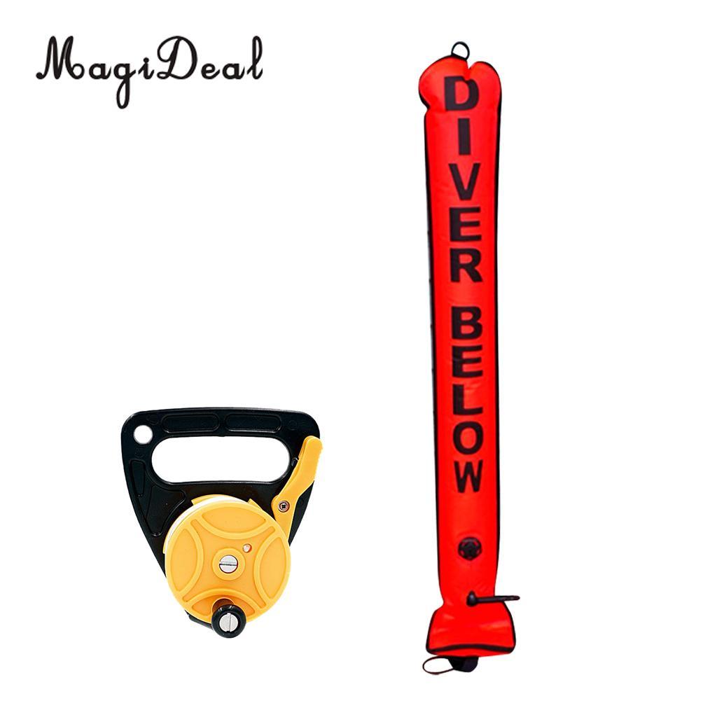 MagiDeal Premium Durabel Nylon 4FT Surface Marker Buoy SMB Safety Sausage Tube Dive Wreck Reel Kayak