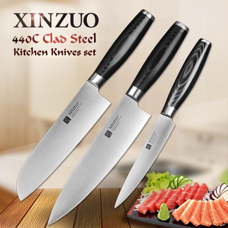XINZUO super forte 3 pcs couteau de cuisine set utility Santoku Chef couteau 3 couches 440C acier plaqué Cuisine Couteau sharp livraison gratuite