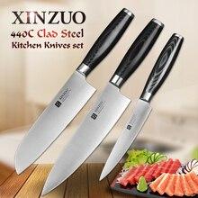 XINZUO super sharp 3 stücke küchenmesser set dienstprogramm Santoku Chef messer 3 schichten 440C verkleidet stahl Küchenmesser sharp kostenloser versand