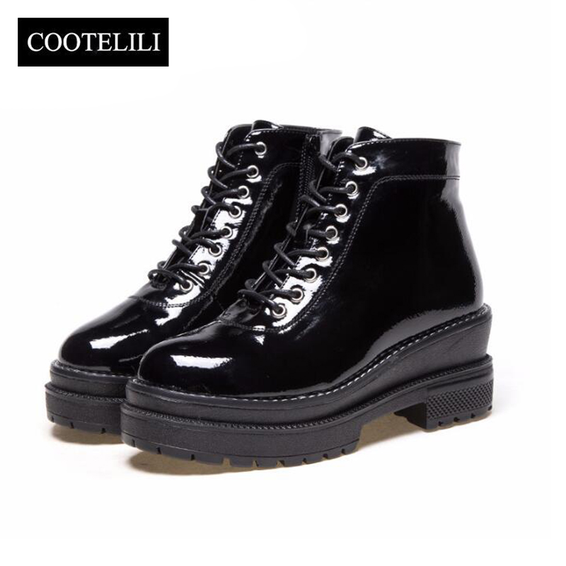 COOTELILI Plus Size Black Ankle Boots Women 6cm High Heels Leather Shoes Woman Winter Autumn Flat Platform Boots Women 35-40 women boots plus size 35 43 genuine leather autumn winter ankle boots black wine red shoes woman brand fashion motorcycle boot