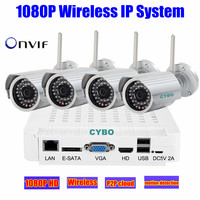 2MP HD 4 IP Camera WiFi 1080P Wireless NVR Home Security System Kit Outdoor Network Video